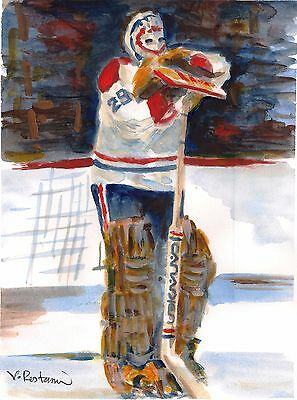 "A634-ORIGINAL WATERCOLOR PAINTING /""Ken Dryden/"" HABS Canadiens Hockey Gift Idea"
