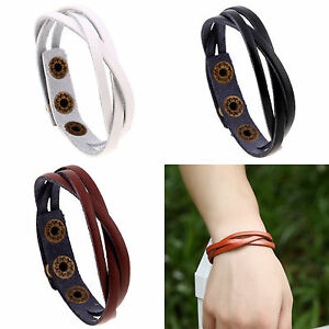 Men-039-s-Braided-Genuine-Leather-Stainless-Steel-Cuff-Bangle-Bracelet-Wristband