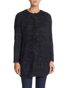 Max-Studio-Long-Boucle-Knit-Cardigan-Women-039-s-Sweater-Navy-Black-NWT-MSRP-168