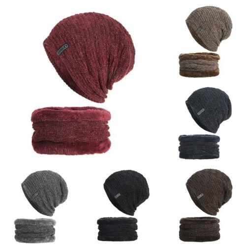 Men Women Cap+Scarf Hat Knitted Baggy Beanie Winter Warm Hat Ski Causal Knit