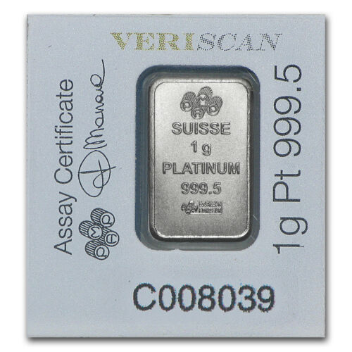 - SKU #96253 Multigram+25 PAMP Suisse In Assay 1 gram Platinum Bar