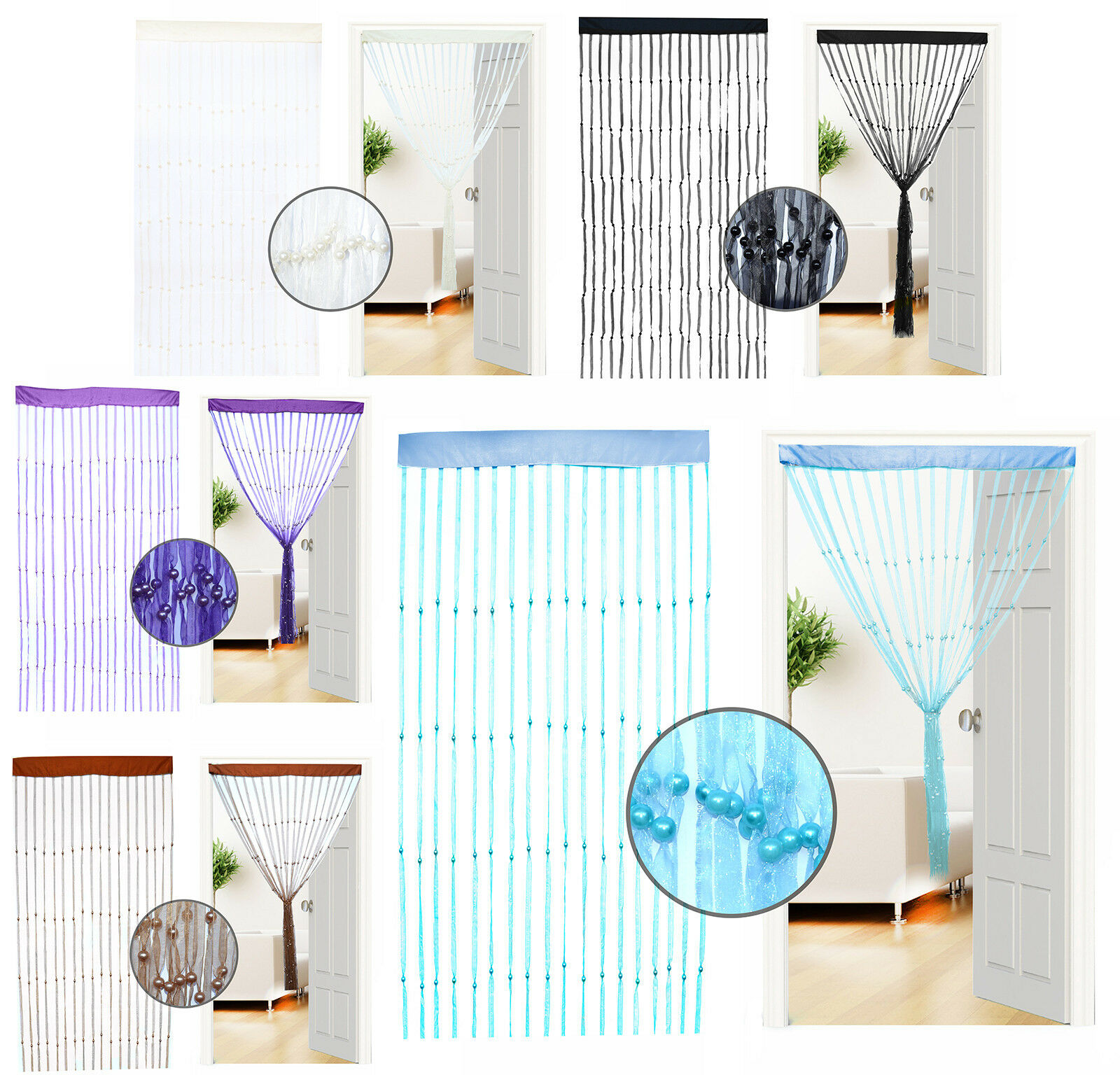 organza schnur vorhang t r wandbehang quaste portiere. Black Bedroom Furniture Sets. Home Design Ideas