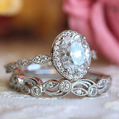 2.50CT Diamond Halo Vintage Engagement Wedding Band Ring Set 14K White Gold Over