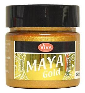 MAYA-GOLD-Farbe-Metallic-Effektfarbe-VIVA-DECOR-45-ml-GOLD-902