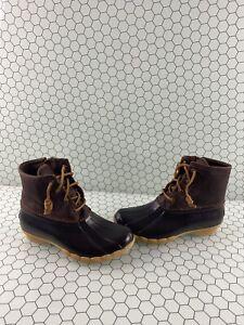 Sperry-Top-Sider-SALTWATER-Brown-Leather-Rubber-Waterproof-Rain-Boots-Women-s-6