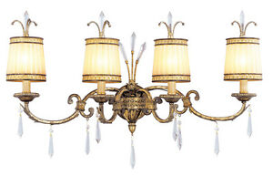 La Bella Livex 4 Light Vintage Gold Leaf Bath Vanity Lighting Fixture 8814 65