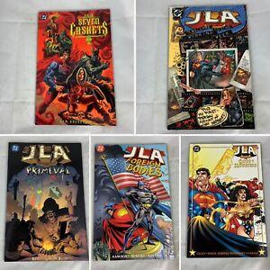 (Lot Of 5) JLA Seven Caskets, Primeval,  Foreign Bodies Graphic Novel TPB's DC