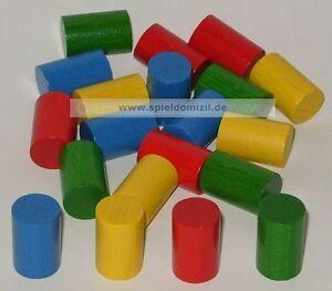 20-ZYLINDER-HOLZ-SPIELSTEINE-Bastelmaterial-ZAHLSTEINE-in-4-Farben-20x13-mm-NEU