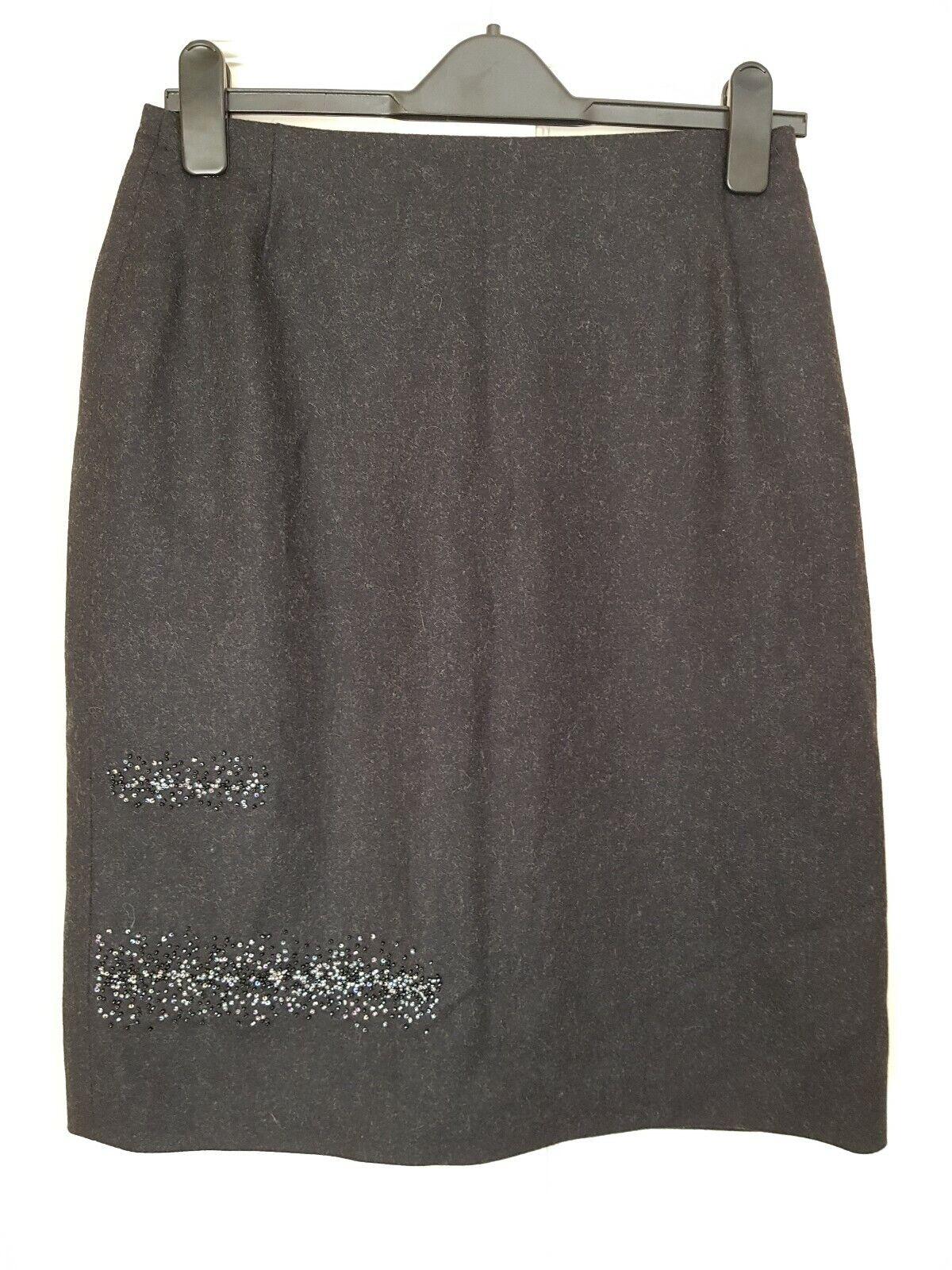 STUNNING Charcoal Grey Virgin Wool cashmere  Skirt By KAREN MILLEN VGC
