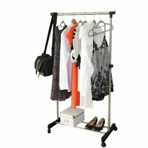 Rolling-Wheel-Adjustable-Clothes-Rack-Single-Rail-Hanging-Garment-Bar-Hanger