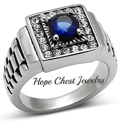 1 CARAT MEN'S SILVER TONE STAINLESS STEEL 4 PRONG BLUE ROUND CZ RING SIZE 8 - 13