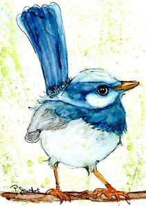 5x7-Blue-Wren-Bird-Painting-Original-Alcohol-Ink-Art-by-Penny-Lee-StewArt