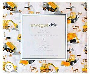 Envogue Kids Twin Sheet Set Cotton Construction Trucks