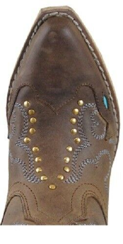 Smoky Girl's Child's Turquoise Distressed Cut Out Studded Distressed Turquoise Leder Cowboy Stiefel 704e6a