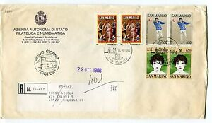 1986 Fdc San Marino Camp. Bocce 25°soc. Corale Raccomandata First Day Cover