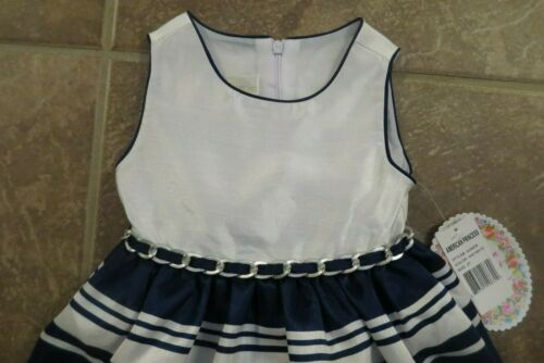 NEW American Princess Toddler Girls Size 2T Navy Blue Stripe Dress Holiday Party