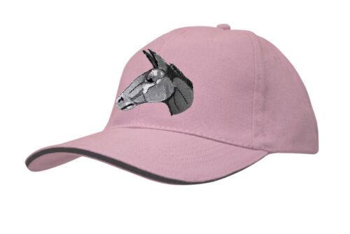 Baseballcap Cap Kappe Schirmmuetze Muetze rosa mit Einstickung Esel Kopf 69251