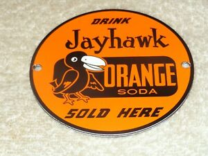 VINTAGE-DRINK-JAYHAWK-ORANGE-SODA-SOLD-HERE-4-034-PORCELAIN-METAL-GAS-OIL-POP-SIGN