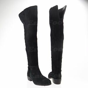 Sam-Edelman-Johanna-Women-039-s-Black-Over-Knee-Suede-Boots-Size-6-5-M-NEW-RTL-300