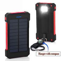 Tragbar 50000mAh 2USB Solar Power Bank Extern LED Zusatzakku Batterie Ladegerät