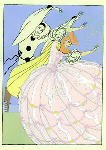 1930s-French-Pochoir-Print-Art-Deco-Harlequin-Dancing-W-Princess-Pink-Dress
