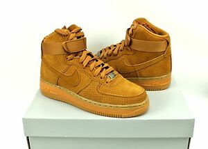 Nike Air Force 1 Hi Top Tawny Brown Suede Shoes 749266-201 Womens ... adf50b82ed