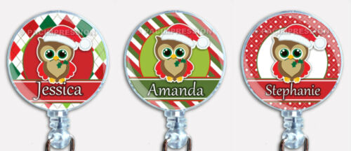Personalized Christmas Badge Reel Santa Claus Owl Retractable ID Name Holder