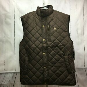 U-S-Polo-Assn-Men-039-s-Big-and-Tall-Quilted-Vest-Dark-Brown-Size-Large