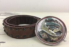 HARLEY DAVIDSON MOTORCYCLES - Brown Leather Belt Eagle Buckle, Metal Studs, 34