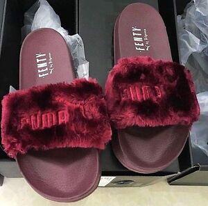 RARE! FENTY x PUMA x RIHANNA Burgundy Fur Slides Leadcat Womens Size ... 6863accf7a