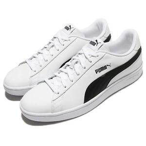 895d047b54 Puma Smash V2 L White Black Classic Men Shoes Sneakers Trainers ...