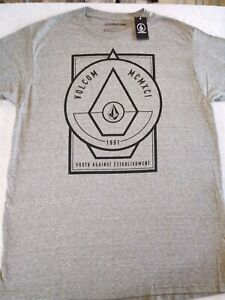 Volcom-Stone-Youth-Against-Establishment-Tee-Mens-Gray-T-Shirt-New-Sz-Large-F