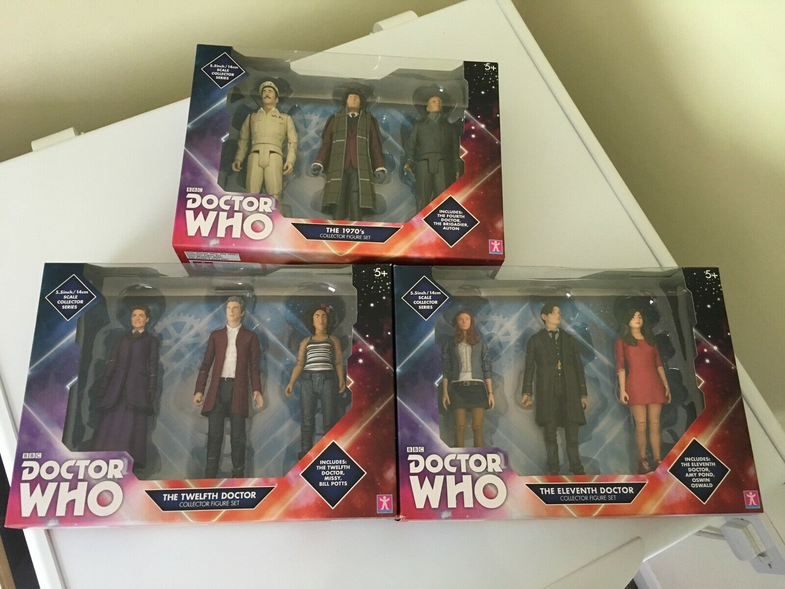 3 x DOCTOR WHO 5  Exclusive Sets 70s 11th Dr 12th Dr BRAND NEW FREE UK POST