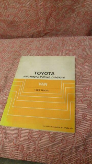 1986 Toyota Van Wagon Electrical Wiring Diagram Manual Oem