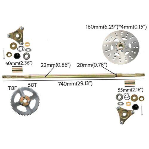 "Brake Master+Sprocket+Disc 29/"" GoKart Quad Rear Axle Assembly Carrier Wheel Hub"