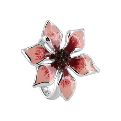 Sterling Silver Pink /& Red Enamel Flower with Cubic Zirconia CZ Ring Size 5,10