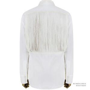Stella-McCartney-White-Textured-Cotton-Mesh-Tassled-Back-Shirt-Blouse-IT42-UK10