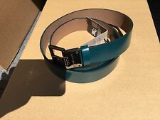 New Authentic Burberry Men Leather Blue Turquoise Logo Belt 38 / 95 $360