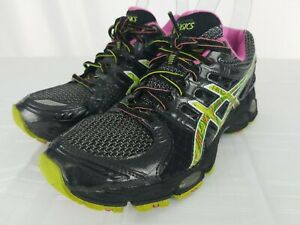 Details about ASICS Gel Nimbus 14 Womens Size 8 Black Green Pink Athletic Running Shoes T291N