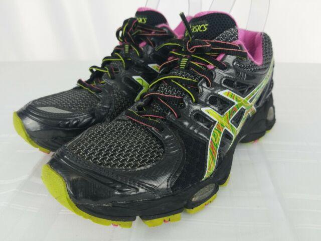 ASICS GEL Nimbus 14 Womens Size 8 Black Green Athletic Running Shoes T291N