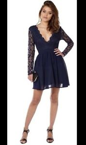 Womens Club L Lace Scalloped Deep V Skater Dress Zip Back Navy ... d8d7c3d41