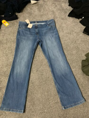M/&s Med Blue Super Stretch Slim Boot Jeans Size 22 Long Bnwt Free Sameday P/&p