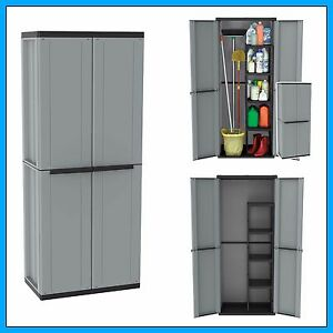 Image is loading Outdoor-Utility-Cabinet-2-Door-Plastic-Cupboard-Shelves-