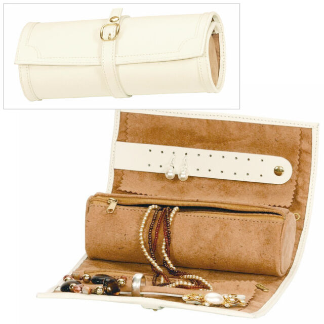 CREAM BONDED LEATHER JEWELLERY STORAGE TRAVEL ROLL CASE JEWEL BOX BY MELE & CO.