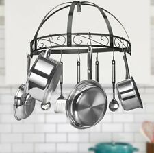 Wrought Iron Pot Rack Wall Mount For Kitchen Hanging Pots And Pans Organizer