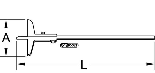 KS TOOLS Tiefenmessschieber, 0-300mm, Höhe150mm (300.0575)