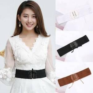 Frauen-Boho-Kunstleder-elastischer-Bund-breites-Kleid-Jacke-Stretch-Guertel