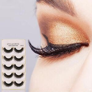 5Pair-Black-False-Wimpern-3D-Natural-Eye-Wimpern-Verlaengerung-Handgefertigte