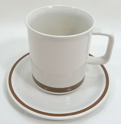 Woodhaven Collection Cup & Saucer Set  Sandusky Cream Brown Specks Brown Rim