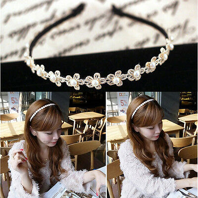 1pcs Sweet Fashion Women hair band pearl Flower Lace headband CATA